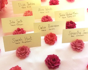 Place Card Holder | Pink Paper Flowers (set of 30)