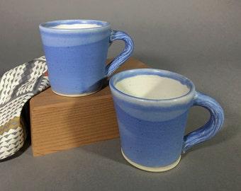 Pair of Blue Matte Mugs