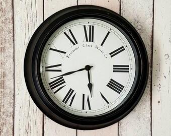 Towcester Clock Works Co Wall Clock Antique Style Black White Roman Numerals Home Decor