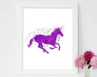 Unicorn print, Unicorn art, unicorn nursery, Purple unicorn, unicorn poster, unicorn room decor, unicorn prints, Disney unicorn movie