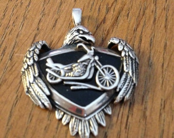 Sterling Silver All American Eagle Motorcycle Pendant