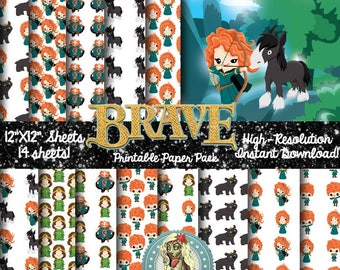 BRAVE Merida, Merida Brave, Merida Dress, Merida, Scrapbook Paper, Digital Paper, Commercial Use, Scrapbook pages, Digital Scrapbooking