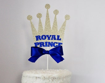 Royal Prince Crown Cake Topper Blue and Gold Baby Showers, Birthday Parties, Baptisms, Centerpiece Topper