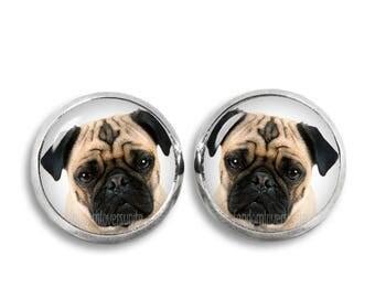 Pug Stud Earrings Pug Earrings 12mm Dog Earrings Jewelry Dog Lovers earrings