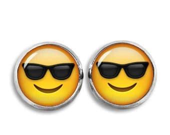 Cool Emoji Stud Earrings Emoji Smiley Stud Earrings Kawaii Cute 12mm earrings Geeky