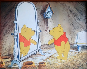 Walt Disney Winnie Pooh Original Picture Frame - Vintage Solid Pine Wood Framed Children's Babies Bedroom - Nursery - Italian Nouva Print