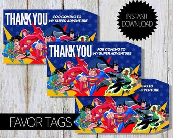 SuperHero Justice League Birthday Party PRINTABLE Favor Tags- Instant Download | DC SuperHero| Justice League Unlimited