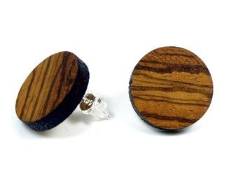Wood Earrings | Moderne wooden earrings |Zebrano |Sterling Silver | handmade wooden jewelry