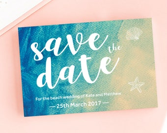Sea and Sand Save the Date/Wedding Announcement Cards