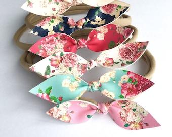Nylon with floral bow baby headband