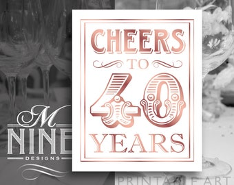 Rose Gold Printable Art / Cheers To 40 Years / 40th Birthday Party Downloads, 40th Anniversary Party Sign, Party Décor BWRG44