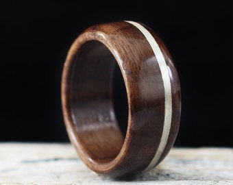 Wooden Ring Handmade From Walnut Wood And Silver, Metal Wood Ring, Silver Wood Ring