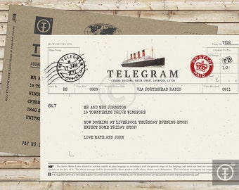Personalised Telegram with Envelope - Ship Letter Telegram, Greeting, Best Wishes