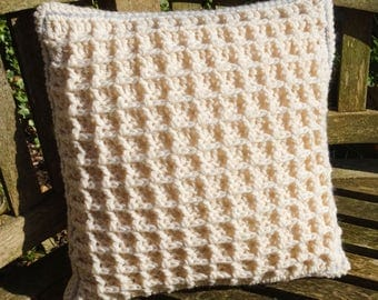 soft pure new wool aran crochet and damask cushion