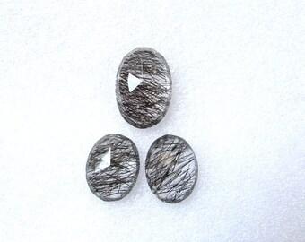 3 pieces pair BLACK Rutilated Rosecut Uneven Cabochon rosecut (17.5x12mm - 1 pcs Or 14x11mm -2 pcs) Black Rutile Faceted Irregular Rosecut