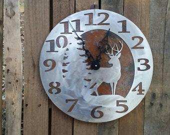 Deer Scene Clock with Patina Backround