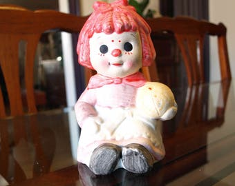 Vintage Hand Painted Raggedy Ann Ceramic Bank made in Japan