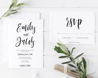 Wedding Invitation Template, Printable Wedding Invitations, Printable Invitation Suite, Wedding Invitation Suite, DIY Invitations