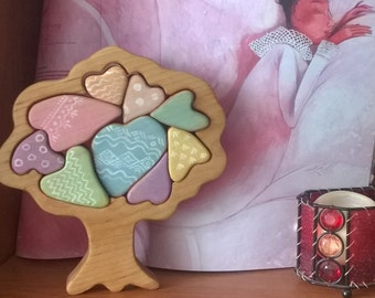Wooden Hearty Tree of Love Puzzle, Gift for Toddlers and Children Tree figurine Handmade Eco Friendly Toy Waldorf Toy // Giochi con alberi