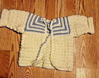 Handmade Crochet Baby Blue & Cream Sweater Infants 3-9 Months