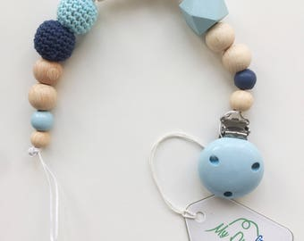 Personalized pacifier in pastel with crochet bead
