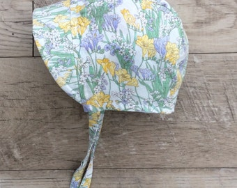 Baby bonnet/wildflower cotton hat /baby sun hat/sun bonnet /toddler sun hat /baby bonnet with brim/baby hat