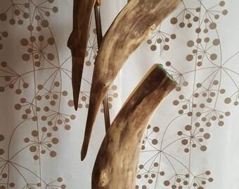 Sculpture bois flotté et verre de mer