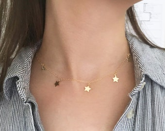 5 Gold Filled Star Princess Layering Choker Necklace, Star Charm Necklace, Gold Star Choker