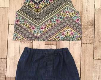 Homemade girls denim skirt and pattern top set