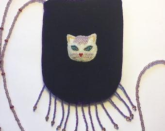 Amethyst velvet and beaded cat purse.