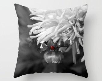 Ladybug Pillow, Flower Pillow, Nature Pillow, Dahlia Pillow, Throw Pillow Cover, Accent Pillow, Sofa Pillow, Toss Pillow, Scatter Cushion
