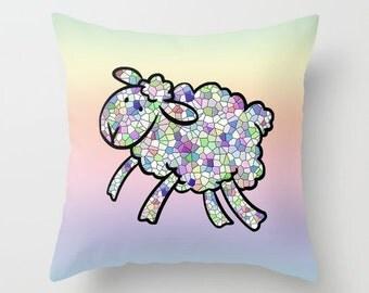 Lamb Pillowcase, Pillow Cover, Nursery Decor, Mosaic Pillow, Lamb Decor, Pastel Pillow, Accent Pillow, Home Decor, Kids Room, Childrens Room