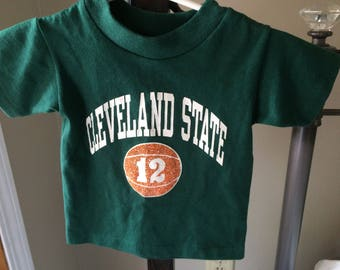 Vintage Baby/Toddler Cleveland State Vikings Tee Shirt,Green & White CLE State Unisex Basketball Tee, 1980's