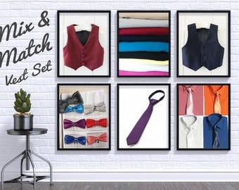 Mix and Match Colors Boys Suit Vest Set, Shirt, Tie, Bowtie