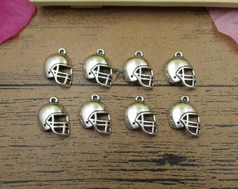 20 Football Helmet Charms Antique Silver Tone,3D Charms-RS467