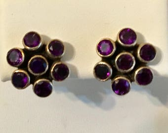 USA FREE SHIPPING!!  Amethyst Cluster Sterling Silver Earrings