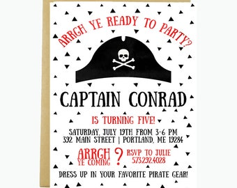 Pirate Birthday Party Invitation, Pirate Hat Invitation, Captain Birthday Party, Pirate Invitation, Printable or Printed For You, 5x7 Inches