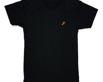 Key Embroidered T Shirt | Soft Black Tee S, XL