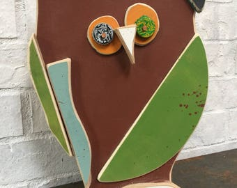 "Wooden Folk Art Owl ""Leo"""