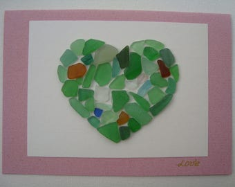 "Seaglass Cards-Genuine Seaglass-Seaglass art-Hand Made greeting card-heart-card OOAK ""Love""-Blanc inside"