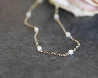 """Necklace """"dotted"""", mini plated White Pearl Gold way gold filled 14 k, french-modern-minimalist"""