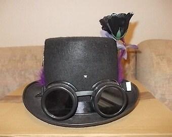 Gothic Steampunk Hut. Hat. Steampunk Goggles. Rosen. Federn.Pendant. Size 57
