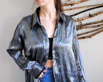 Vintage Shiny blouse 1990s silver womens shirt