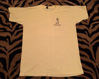 RARE Vintage 1980s NASA DISCOVERY Space Shuttle Rocket Launch Canary Yellow 50 50 Med Tshirt