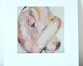 "Yoga Art - Matted Print (12x12""). Pindasana (or ""Embryo"") Pose. Beautiful Figure Painting. By Sarah Pierroz"