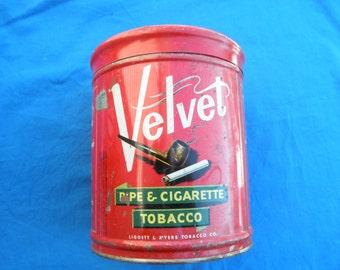 Vintage Round Velvet Pipe Tobacco Tin Home decor Tobacciana Collectible