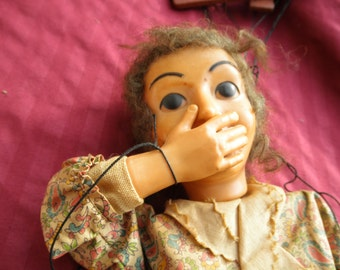 Vintage Marionette Doll  Collectible Eerie Looking Repurpose Puppet 1940's Kids Toy
