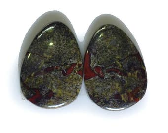 22 Cts. Fine Quality Natural Bloodstone 1 Matched Pair Gemstone Cabochon Size 19x13x3 mm Loose Gemstone Wholesale gemstone