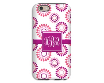 Monogram iPhone 8 case, pink flowers iPhone 8 Plus case, iPhone 7 Plus/iPhone 7 case, iPhone 6s/6s Plus/6/6 Plus, 3D iPhone cases