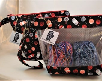 Knitting Project Bag, Zippered Project Bag, Knitting Wedge Bag, Yarn Tote Bag, Yarn Bag, Knitting bag, Yarn Balls